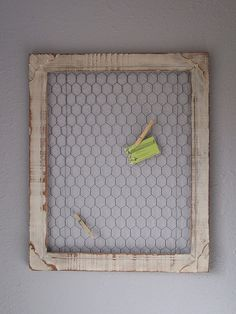 """DIY Chicken Wire Frame  You will need:  Scraps of old chicken wire   Old wooden picture frame (any size will work- depending on your preference)  Paint (optional)  Sandpaper (optional)  Staple gun and staples (You'll need somethingslightly bigger than your average """"office"""" stapler)  Wire cutting tool"""