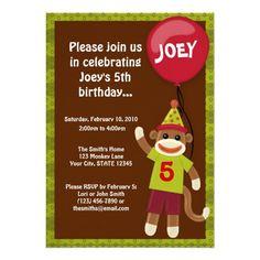 Sock Monkey Monkey Business Birthday Invitation