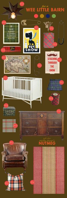 scottish tartan baby nursery inspiration board