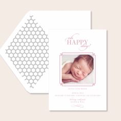 Gray hexagon liners make this adorable letterpress birth announcement even more special.   nnhttp://www.etsy.com/listing/177828106/letterpress-birth-announcements