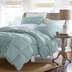 White Bay® Supersize or Oversized Goose Down Comforter / Duvet | The Company Store.  Love the waffle knit sham and blanket too!