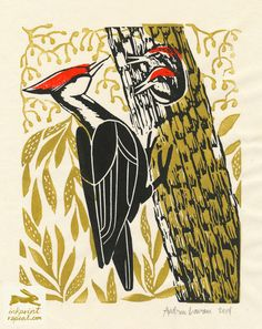 pattern, linocut, print pattern design, linocut, bird, woodpecker, printmaking, printmaker, illustration