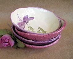 Ceramic Set of FOUR Hand Built Pottery Dragonfly Prep Bowls w3ww.dgordon.etsy.com $36.00