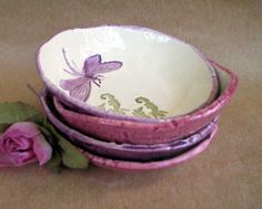 Dragonfly Prep Bowls Set of  FOUR by dgordon on Etsy, $36.00