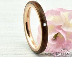 Zarter Roségold Verlobungsring Ring mit Holz Bentwood Ehering Trauring Palladium Silber Gold Weißgold Bugholz Ring aus Holz handgemacht