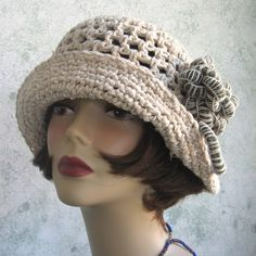 ladies crochet hat with crochet flowers | Womens Crochet Brimmed Summer Hat Pattern With Flower Trim PDF