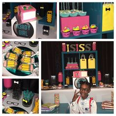 """Nerdy girl Isiss  #nerdygirl #thatsmybaby #nerd #nerdparty #candybuffet #dessertbuffet #eventplanner #sweetaffairs #bookwormcake #booksmart…"""