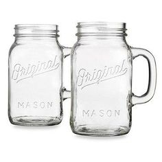 Enjoy the classic styling of Original Mason with this handled jumbo-size drinking jar. It's perfect for serving guests or enjoying your favorite drink with a touch of vintage style.