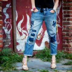 Upcycle your old ripped jeans into an on trend patched jeans with this simple DIY tutorial.