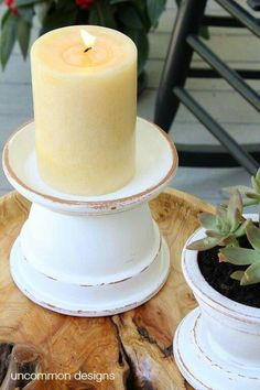 Inexpensive candle pillars from Tara cotta pots and saucers