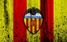 Download wallpapers Valencia, 4k, grunge, La Liga, stone texture, soccer, football club, LaLiga, Valencia FC