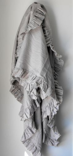 Dove Grey Ruffle Bed Throw Blanket made fro 100 by AtlasLinen, $255.00