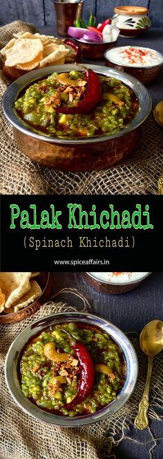 PALAK KHICHDI / PALAK KI KHICHADI /SPINACH RICE Rice Recipes, Baby Food Recipes, Indian Food Recipes, New Recipes, Vegetarian Recipes, Cooking Recipes, Recipies, Pulao Rice, Kitchens