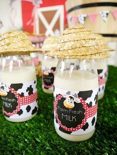 Barnyard Birthday - Milk Bottles with Straw Hats
