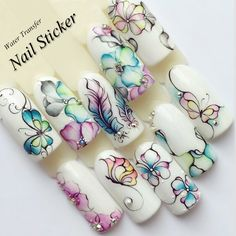 Buy 1 Sheets Colorful Purple Fantacy Flowers Nail Stickers Water Transfer Manicure Decals Tip Decoration Stickers For Nails Cat Nail Art, Cat Nails, Nail Design Spring, Water Color Nails, Butterfly Nail Art, Nail Art Stickers, Beautiful Nail Designs, Nagel Gel, Nail Art Tools
