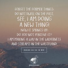 VERSE OF THE DAY Forget the former things; do not dwell on the past. See, I am doing a new thing! Now it springs up; do you not perceive it? I am making a way in the wilderness and streams in the wasteland. Isaiah 43:18-19 NIV #votd #verseoftheday #JIL #Jesus #JesusIsLord #JILWorldwide