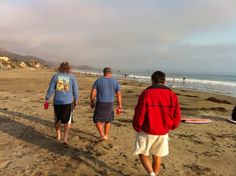 """Mike, Nick, and Mike.....walking the beach after winning the softball tournament in Morro Bay..... """"No Guts, No Glory"""".   Great job team!!!  7/13"""