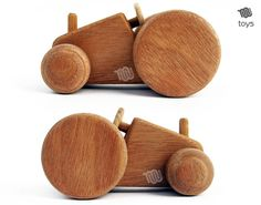 Biscuit tractor  natural wood toy by WoodHandcraft on Etsy