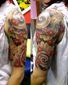 Japanese Quarter Sleeve Tattoo Design - http://tattooideastrend.com/japanese-quarter-sleeve-tattoo-design/ - #Design, #Sleeve, #Tattoo