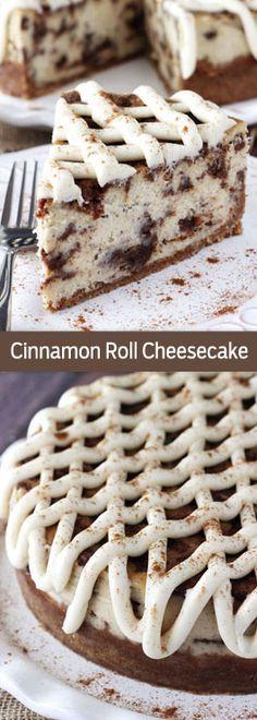 Cinnamon Roll queso - pastel de queso espesa y cremosa con un delicioso rollo de canela relleno en todo! Tan bueno!