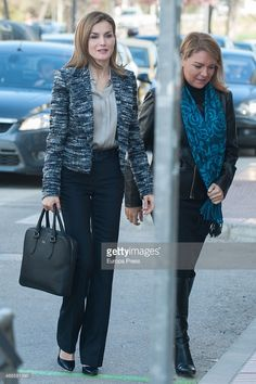 Queen Letizia of Spain (L) attends Unicef board meeting at Unicef headquarters on March 16, 2015 in Madrid, Spain.