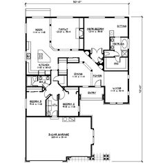 Craftsman Style House Plan - 3 Beds 2.00 Baths 2173 Sq/Ft Plan #132-102 Floor Plan - Main Floor Plan - Houseplans.com