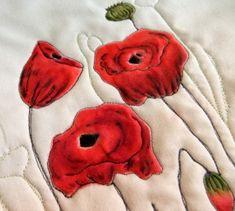 Inktense on fabric poppies - sample - Deborah Wirsu