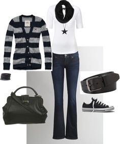 """Classic Black Casual"" by heather-rolin ❤ liked on Polyvore"