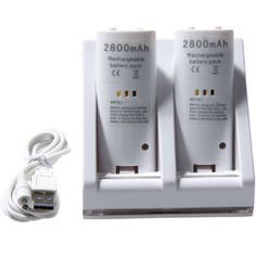 osell wholesale dropship Dual Charging Stand with 2800mAh Battery Pack for Nintendo Wii $4.02