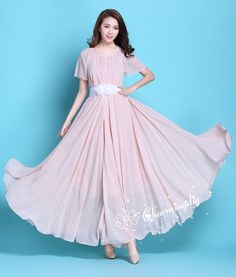 83363b1f665 110 Colors Chiffon Pink Short Sleeve Long Party Dress Evening Wedding  Sundress Summer Holiday Beach Dress Bridesmaid Dress Maxi Skirt