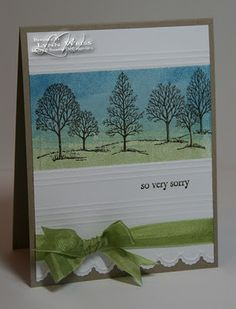 lovely as a tree The background is brayered using Not Quite Navy, Baja Breeze & Certainly Celery inks. used Simply Scored tool to create some lines for added interest. The bottom of the Whisper White panel was cut using the new Edgelits Dies and then embossed with the coordinated embossing folder. Ribbon is Pear Pizzazz Seam Binding.