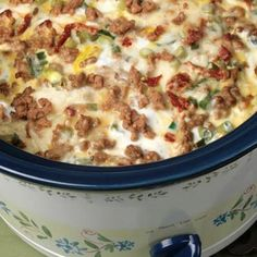 Slow Cooker Sausage Breakfast Casserole- perfect, you can wake up to it! A good Christmas morning recipe.Christmas Morning -Slow Cooker Sausage Breakfast Casserole- perfect, you can wake up to it! A good Christmas morning recipe. Crock Pot Recipes, Crock Pot Cooking, Slow Cooker Recipes, Cooking Recipes, Casserole Recipes, Egg Casserole, Crock Pots, Crockpot Ideas, Crockpot Dishes