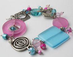 Pink and blue charm bracelet
