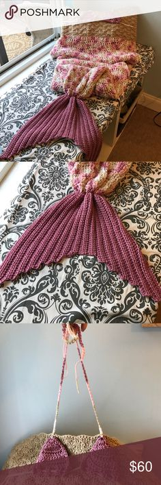 Adult Mermaid Crochet Blanket Handmade crochet mermaid blanket. The top of the blanket has a bikini top design crochet on. Very comfy and warm! Other