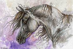 the grey arabian horse watercolor painting by AngelHorses on Etsy, £55.00
