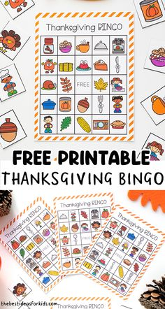 Thanksgiving Bingo - Free printable cards. Play a game of Thanksgiving Bingo as a fun Thanksgiving activity for kids. Fall Preschool Activities, Thanksgiving Activities For Kids, Educational Activities For Kids, Printable Activities For Kids, Outdoor Activities For Kids, Free Printables, Preschool Learning, Learning Activities, Thanksgiving Bingo