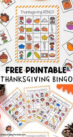 Thanksgiving Bingo, Thanksgiving Activities For Kids, Preschool Learning Activities, Autumn Activities, Thanksgiving Crafts, Crafts For Kids To Make, Crafts For Girls, Kids Crafts, Easy Crafts
