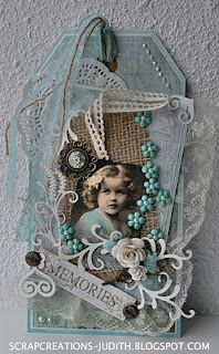 Vintage tag art with beautiful color combo, fun, you could use old family photos and hang on a peg shelf