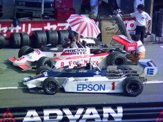 (1) Satoru Nakajima - March 832 Honda / Mugen - Harada Racing Company - (8) Keiji Matsumoto - March 832 BMW / Tomei Jidousya - Team Le Mans - I R.R.C. Fuji F2 Champions Race - 1983 Japanese F2 Championship, Round 6