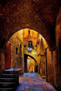 An alley in the Jewish Quarter, the old city of Jerusalem Israel