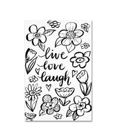 Trademark Fine Art Live Love Laugh Canvas Art by Elizabeth Caldwell, Gold Ornate Frame, Size: 16 x White Artist Canvas, Canvas Art, Canvas Size, Flower Line Drawings, Live Love, Baby Clothes Shops, Graphic Art, How To Draw Hands, Kids Shop