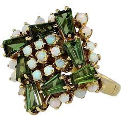 Gorgeous Colorful 1960's Green Tourmaline & Opal Cocktail Ring 18k #rubylane www.rubylane.com
