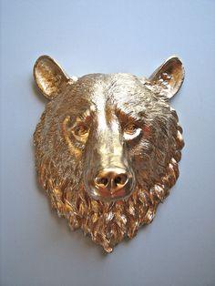 Faux Taxidermy Bear Head Full Size Wall Mount 16 1/2 inches tall: Bob the Bear Head in Gold