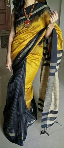 Mustard yellow matka saree with zari border