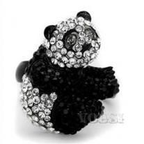 Beautiful, Unique Black and Silver Panda ring in Stainless Steel.