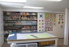 DIY sliding design wall in my quilt studio with quilt blocks on it - Sewing Rooms - Nähen