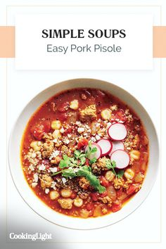 "Easy Pork Posole | ""Most pork posole recipes call for pork shoulder. We lessen the legwork by using ground pork instead. Hominy is a hallmark of posole, with its plump, chewy texture and toasty-corn character; you'll find it canned in the Latin and Mexican foods section or near the canned corn. This low-stress soup is great for serving a crowd and even better for leftovers the next day."" #souprecipes #soupinspiration #soup #stew #chili #soupideas"