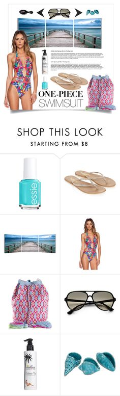 """""""One-piece swimsuit"""" by camilika ❤ liked on Polyvore featuring Essie, Monsoon, Elementem Photography, Agua Bendita, Muzungu Sisters, Ray-Ban, Million Dollar Tan, Beauty Rush, polyvorecontest and onepieceswimsuit"""