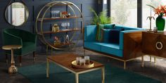Ravello shelf unit – walnut and brass art deco – my furniture Art Deco Living Room, Art Deco Home, Antique Interior, Palette, Vintage Interiors, New Home Designs, Furniture Collection, Credenza, Home Goods