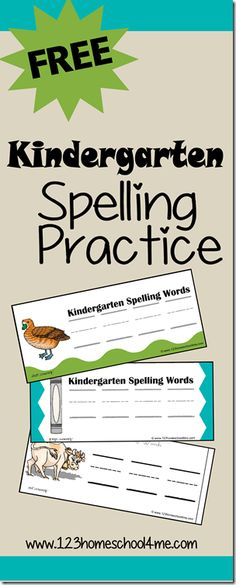 FREE Kindergarten Spelling Practice! I love that this printable helps kids sound out words and can be used to practice writing letters or with a huge variety of alphabet manipulatives! #homeschooling #spelling #kindergarten